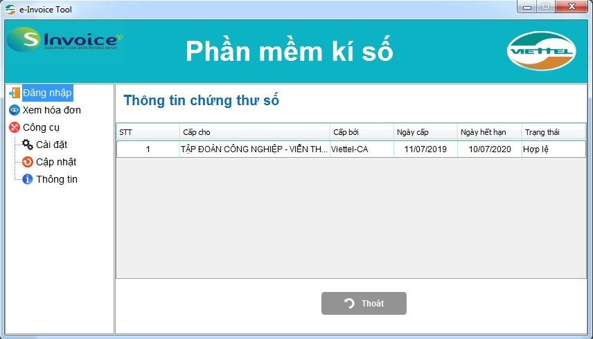 Phần mềm kí số Viettel