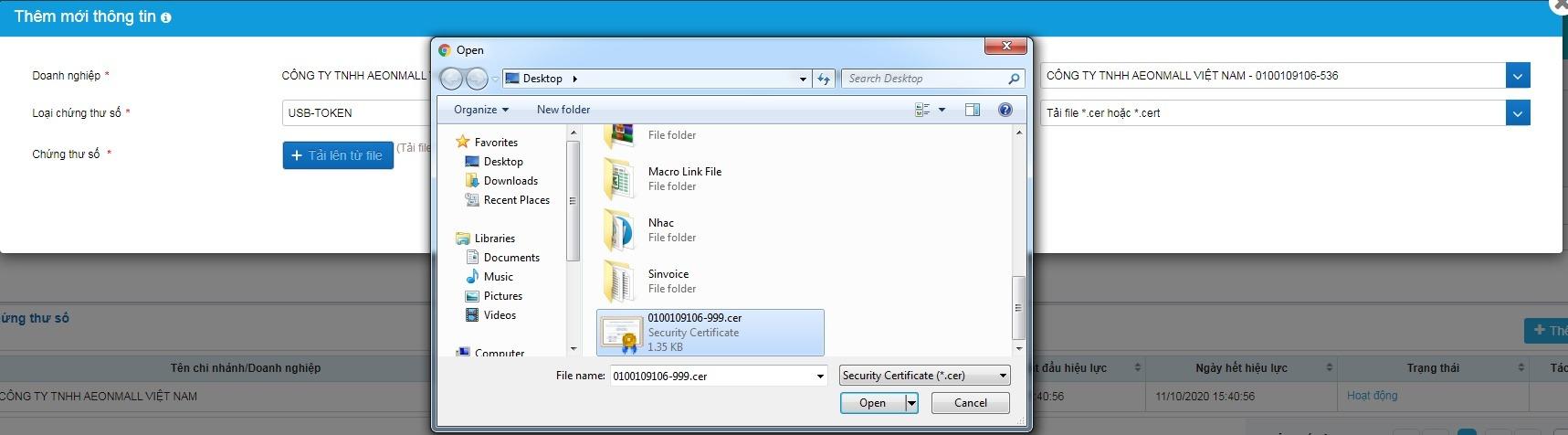 Thêm mới từ file Cer, Cert đã Export